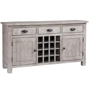 Vancouver Sawn Solid Oak Weathered Grey Large 3 Drawer 2 Door Wine Table