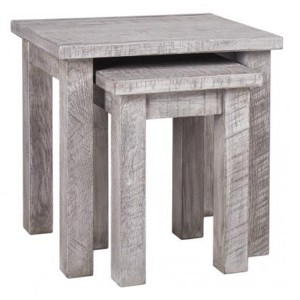 Vancouver Sawn Solid Oak Weathered Grey Nest of 2 Tables