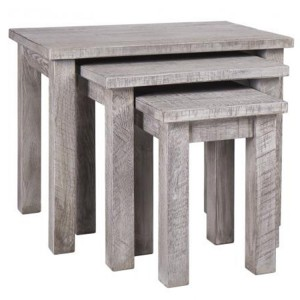 Vancouver Sawn Solid Oak Weathered Grey Nest of 3 Tables