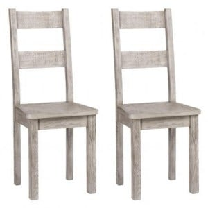 Vancouver Sawn Solid Oak Weathered Grey Pair of Dining Chair With Timber Seat