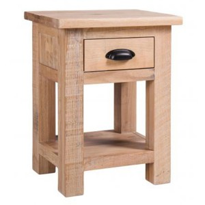 Vancouver Sawn Solid Oak White Wash 1 Drawer Bedside Table