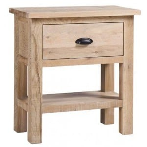 Vancouver Sawn Solid Oak White Wash 1 Drawer Console Table