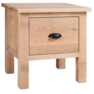 Vancouver Sawn Solid Oak White Wash 1 Drawer Lamp Table