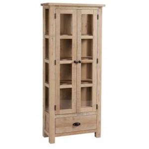 Vancouver Sawn Solid Oak White Wash 2 Door 1 Drawer Glazed Display Cabinet