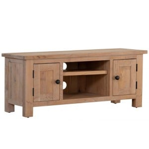 Vancouver Sawn Solid Oak White Wash 2 Door TV Unit with a Shelf
