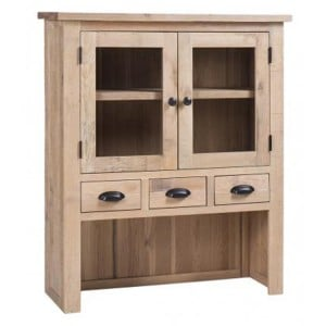 Vancouver Sawn Solid Oak White Wash 3 Drawer 2 Door Hutch