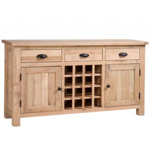Vancouver Sawn Solid Oak White Wash 3 Drawer 2 Door Wine Table