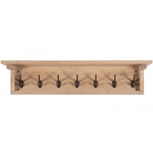 Vancouver Sawn Solid Oak White Wash Coat Rack with 7 Hooks