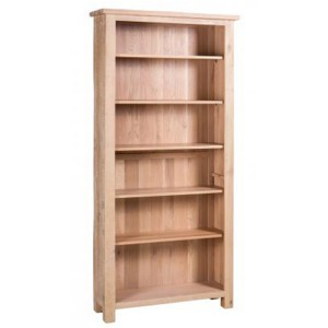 Vancouver Sawn Solid Oak White Wash Tall Bookcase with Adjustable Shelves