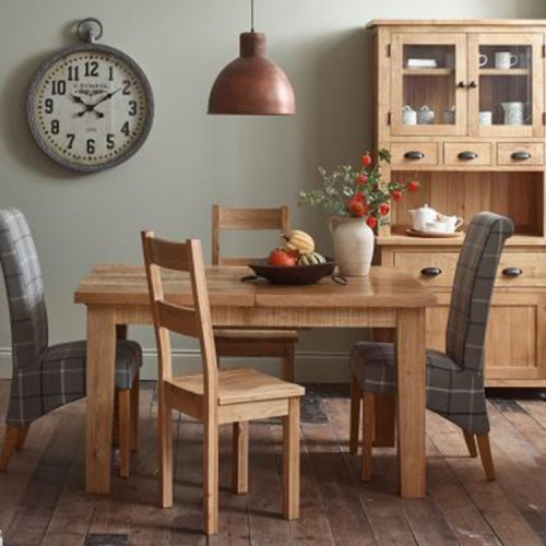 Vancouver Sawn Solid Oak Furniture Dining Set 1 Table 4 Fabric Chairs