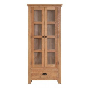 Vancouver Sawn Solid Oak Furniture 2 Door 1 Drawer Glazed Display Cabinet