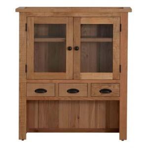 Vancouver Sawn Solid Oak Furniture 2 Door 3 Drawer Hutch