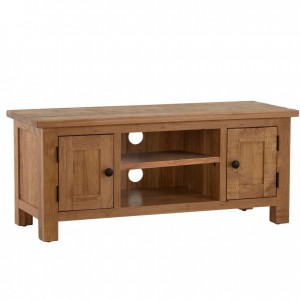 Vancouver Sawn Solid Oak Furniture 2 Door TV Unit with Shelf