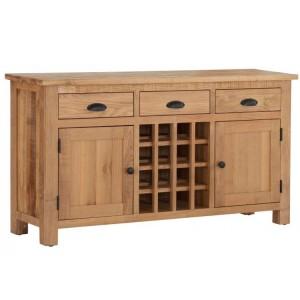 Vancouver Sawn Solid Oak Furniture 3 Drawer 2 Door Wine Table
