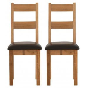 Vancouver Sawn Solid Oak Furniture Chocolate Leather Dining Chair Pair