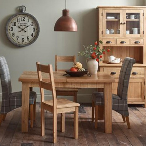 Vancouver Sawn Solid Oak Furniture Dining Set 1 Table 4 Wooden Chairs