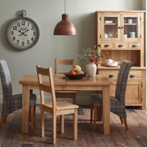 Vancouver Sawn Solid Oak Furniture Dining Set 1 Table with 4 Chairs