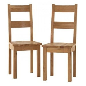 Vancouver Sawn Solid Oak Furniture Timber Seat Dining Chair Pair