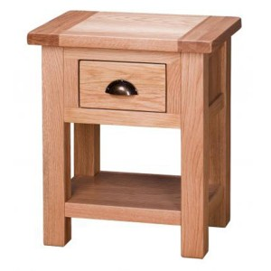 Vancouver Select Oak Furniture 1 Drawer End Side Table with Shelf