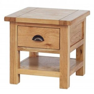 Vancouver Select Oak Furniture 1 Drawer Occasional Table with Shelf