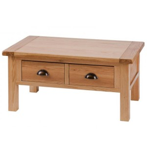 Vancouver Select Oak Furniture 2 Drawer Low Coffee Table