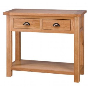 Vancouver Select Oak Furniture 2 Drawers Hall Table with Shelf