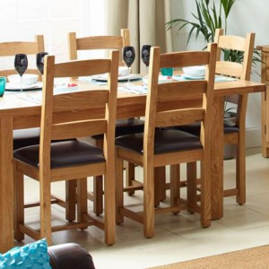 Vancouver Select Oak Furniture Extending Dining Set 1 Table with 6 Chairs