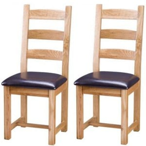 Vancouver Select Oak Furniture Slat Back Dining Chair with PU Seat Pair