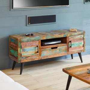 Coastal Chic Reclaimed Wood Furniture Widescreen TV Cabinet
