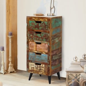 Coastal Chic Reclaimed Wood Furniture 5 Drawer Tallboy