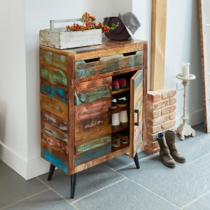 Coastal Chic Reclaimed Wood Furniture Shoe Cupboard