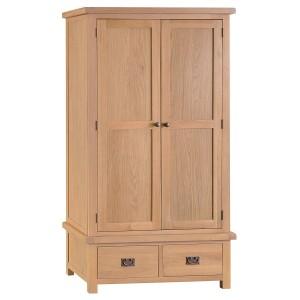 Colchester Rustic Oak Furniture 2 Door 2 Drawer Wardrobe