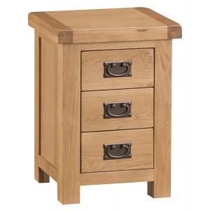 Colchester Rustic Oak Furniture 3 Drawer Bedside Cabinet