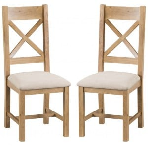 Colchester Rustic Oak Furniture Cross Back Chair With Fabric Seat Pair