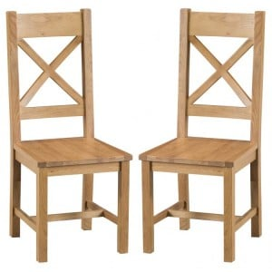 Colchester Rustic Oak Furniture Cross Back Chair With Wooden Seat Pair