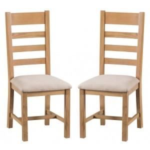 Colchester Rustic Oak Furniture Ladder Back Chair Fabric Seat Pair