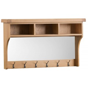 Colchester Rustic Oak Furniture Hall Shelf Unit With Mirror