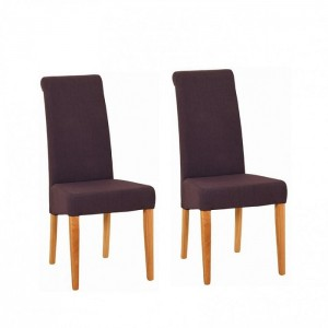 Devonshire New Oak Furniture Mauve Fabric Chair (Pair)