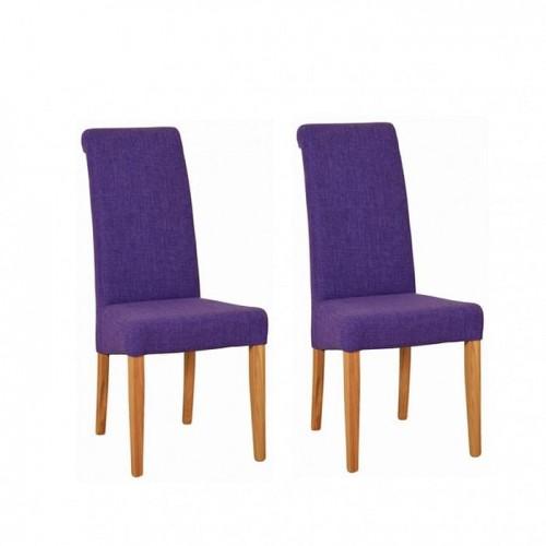 Devonshire New Oak Furniture Purple Fabric Chair (Pair)