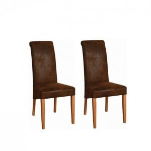 Devonshire New Oak Furniture Faux Bison Chair (Pair)