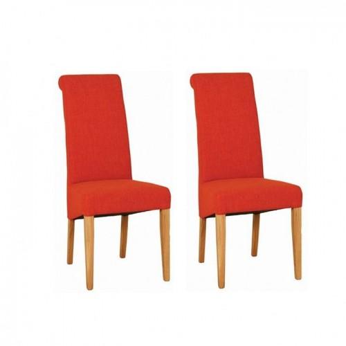 Devonshire New Oak Furniture Dark Orange Fabric Chair (Pair)