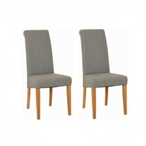 Devonshire New Oak Furniture Light Grey Fabric Chair (Pair)