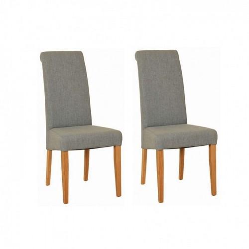 Devonshire New Oak Furniture Light Grey Fabric Chair (Pair)