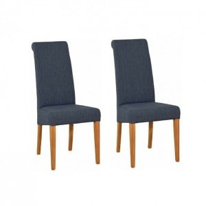 Devonshire New Oak Furniture Blue Fabric Chair (Pair)