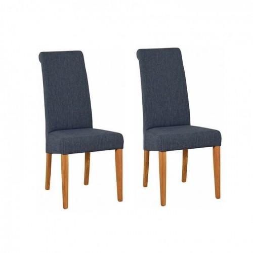 Devonshire New Oak Furniture Blue Fabric Chair (Pair)