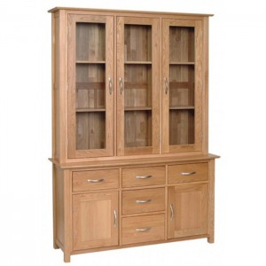 Devonshire New Oak Furniture Glazed Large Dresser