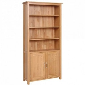 Devonshire New Oak Furniture Tall Bookcase With Cupboard