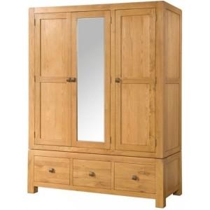 Devonshire Avon Oak Furniture Triple Wardrobe With 3 Drawers & Mirror
