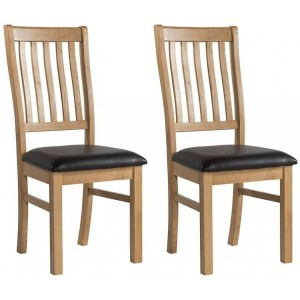 Devonshire Burford Oak Furniture Dining Chair Pair