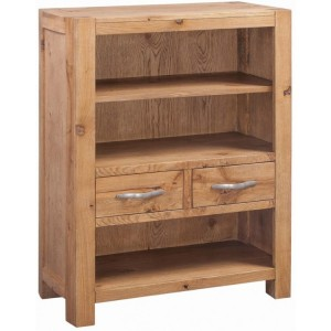 Devonshire Como Oak Furniture Low Bookcase With 2 Drawers